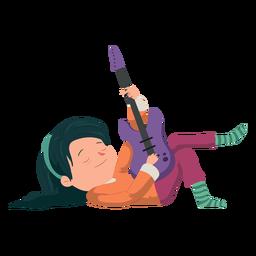 Menina com guitarra plana