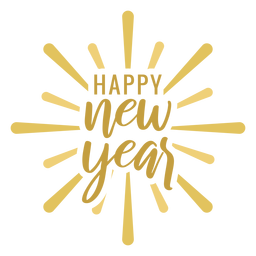 Feliz año nuevo insignia etiqueta