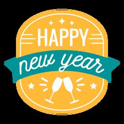 Feliz ano novo adesivo de distintivo de vidro