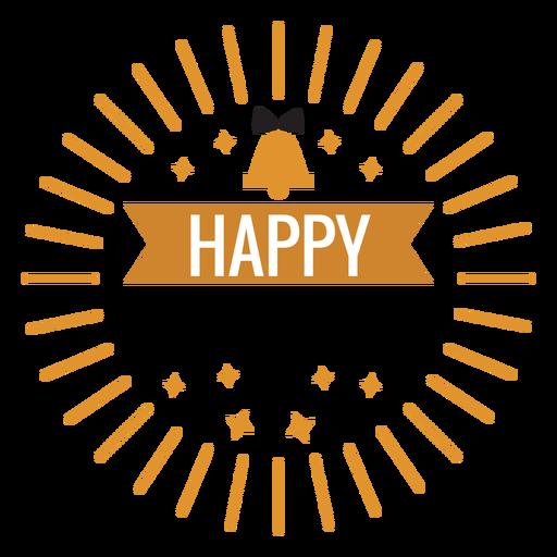 Feliz año nuevo insignia estrella campana insignia pegatina
