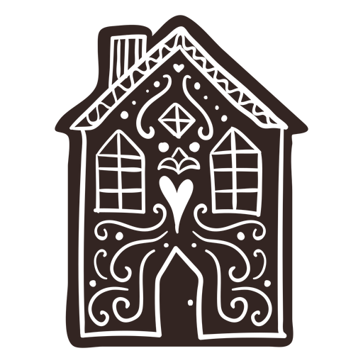 House cookie gingerbread detailed silhouette Transparent PNG