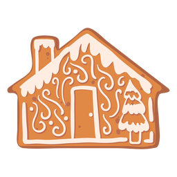 House fir gingerbread cookie flat