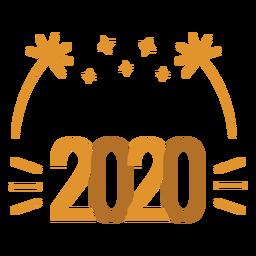 Etiqueta engomada de la insignia de fuegos artificiales estrella del año bisiesto 2020