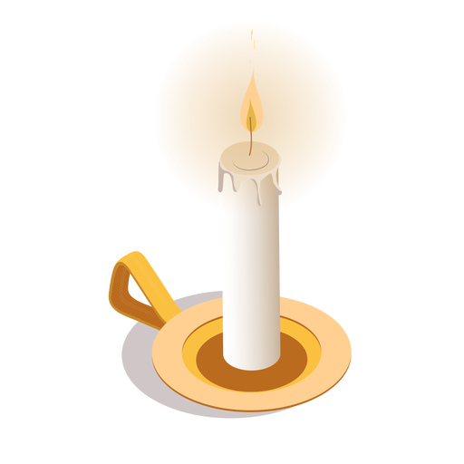Light candle isometric Transparent PNG