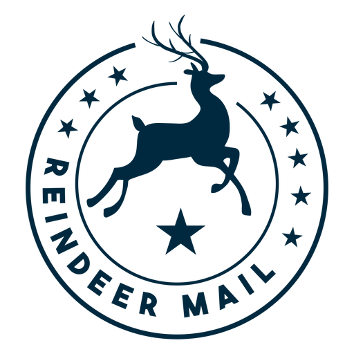 Etiqueta engomada de la insignia del correo del reno