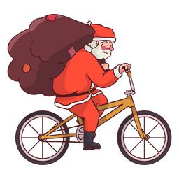 Santa Claus saco bicicleta plana