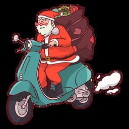 Motocicleta de saco de Papai Noel plana