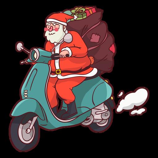 Weihnachtsmann Sack Motorrad flach