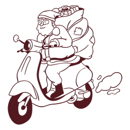 Santa claus sack motorcycle stroke