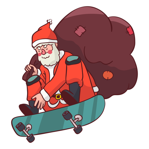 Santa claus sack skateboard flat