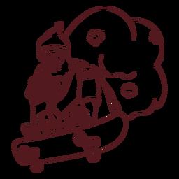 Santa Claus saco trazo de patineta