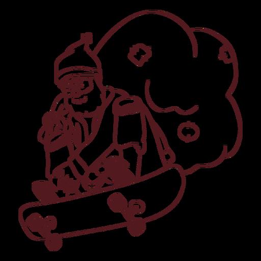 Santa claus sack skateboard stroke