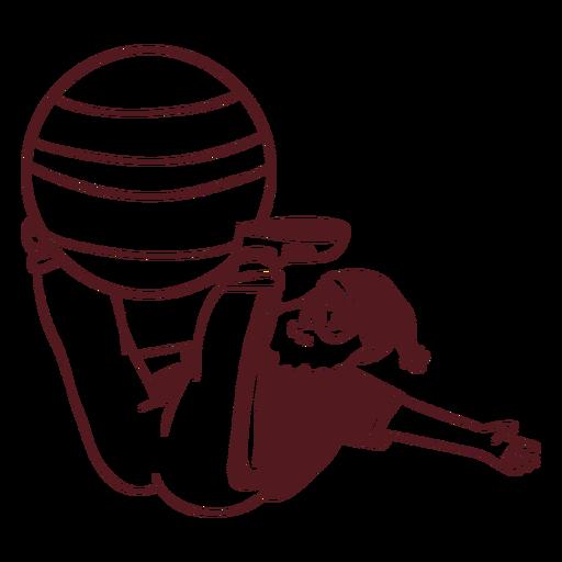 Santa claus sportsman exercise ball stroke