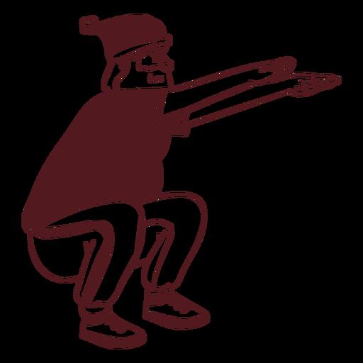 Santa claus sportsman exercise stroke