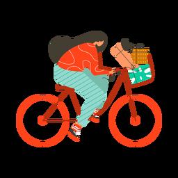 Bicicleta de presente de caixa de mulher plana