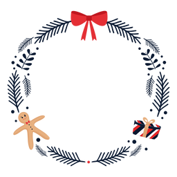Wreath bow gift flat
