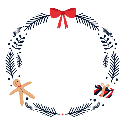 Wreath bow gift flat