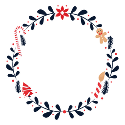 Wreath flower candy cane flat