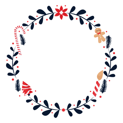 Wreath flower candy cane flat