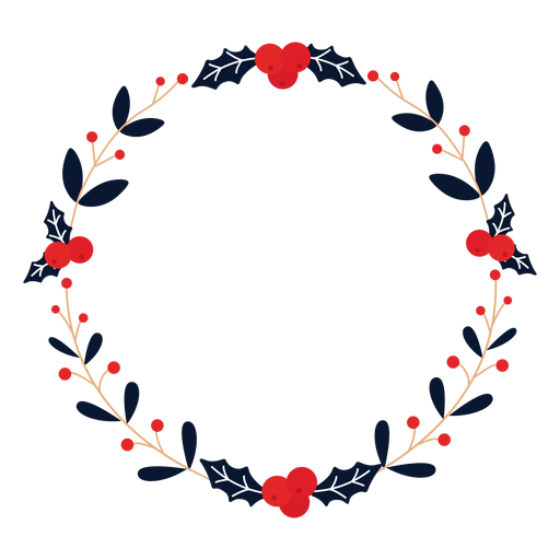 Wreath winterberry branch flat Transparent PNG