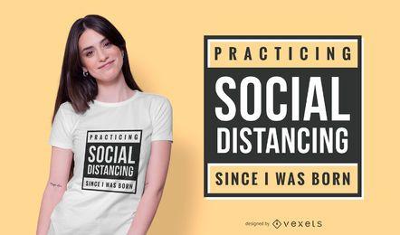 Diseño de camiseta de texto de distanciamiento social