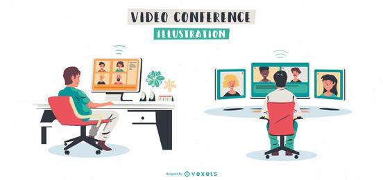 Conjunto de ilustración de videoconferencia