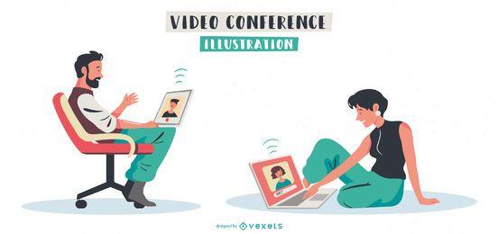 Paquete de personajes de personas de videoconferencia