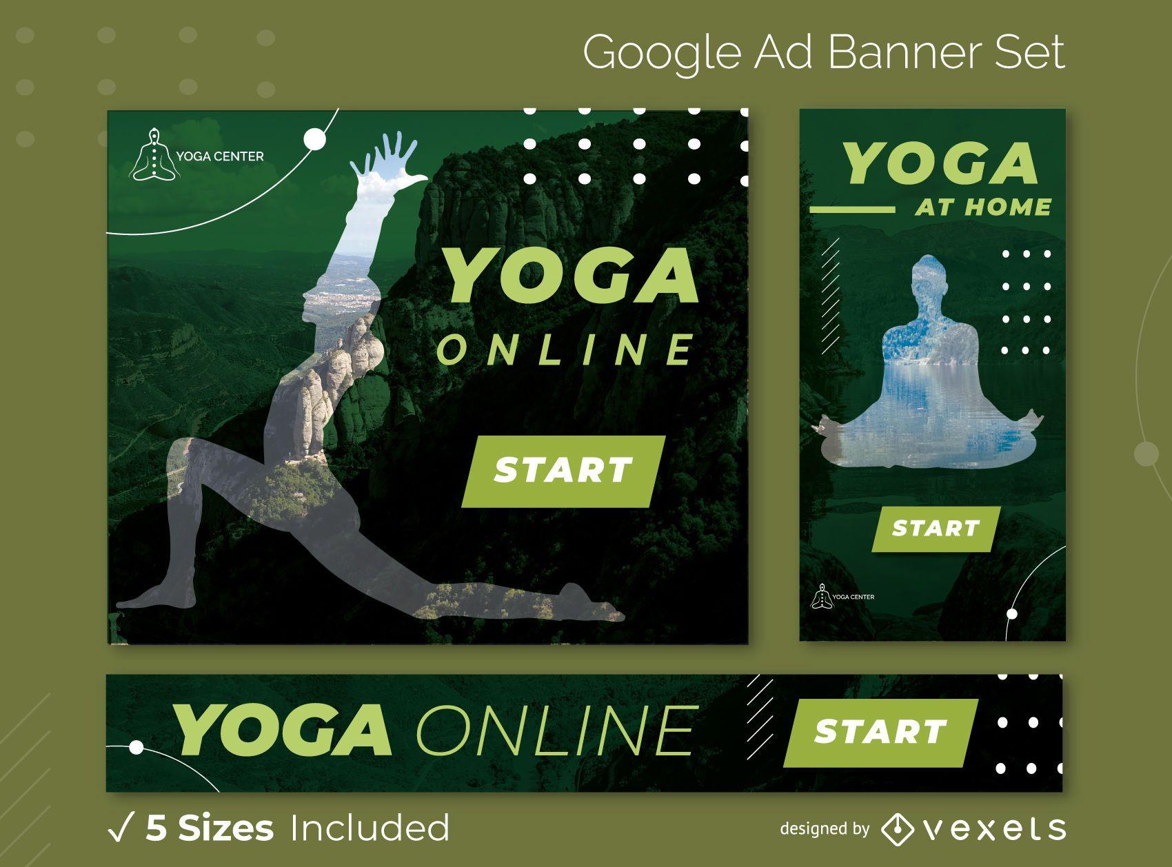 Pacote de banner para ioga do Google Ads