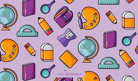 Diseño de patrones de ilustración de elementos escolares