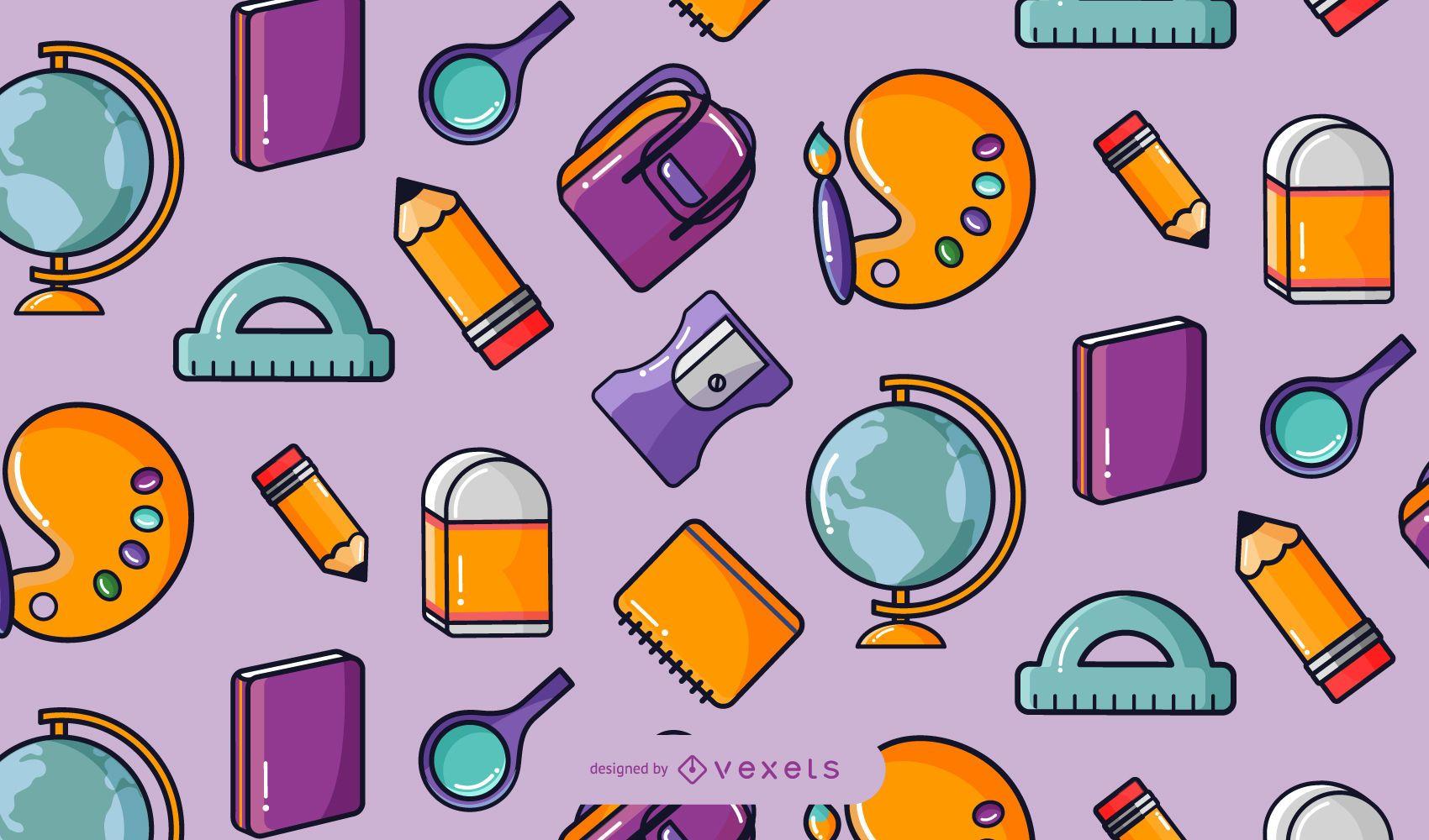 Diseño de patrón de ilustración de elementos escolares