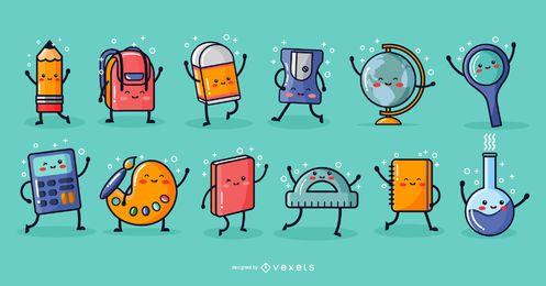 Paquete de elementos de dibujos animados de la escuela