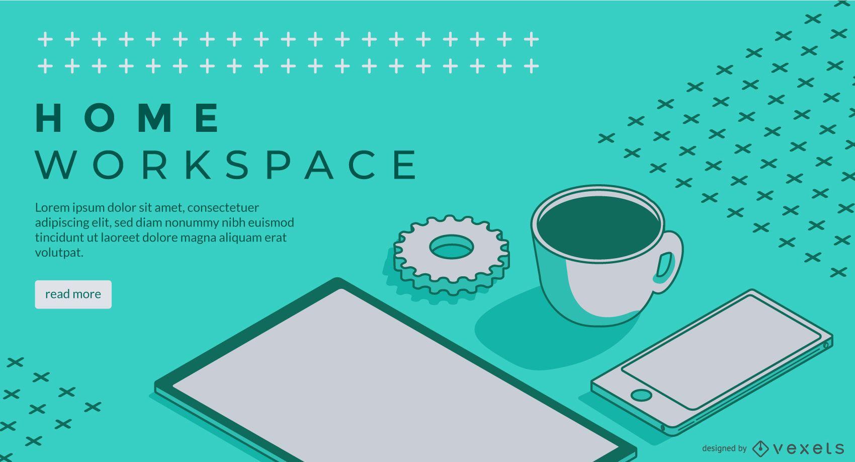 Diseño de control deslizante web de oficina en casa