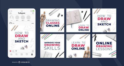 Postagens de aulas de desenho em mídias sociais