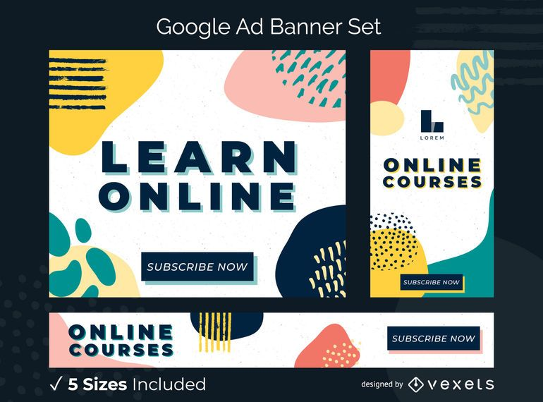 Learn online ads banner set