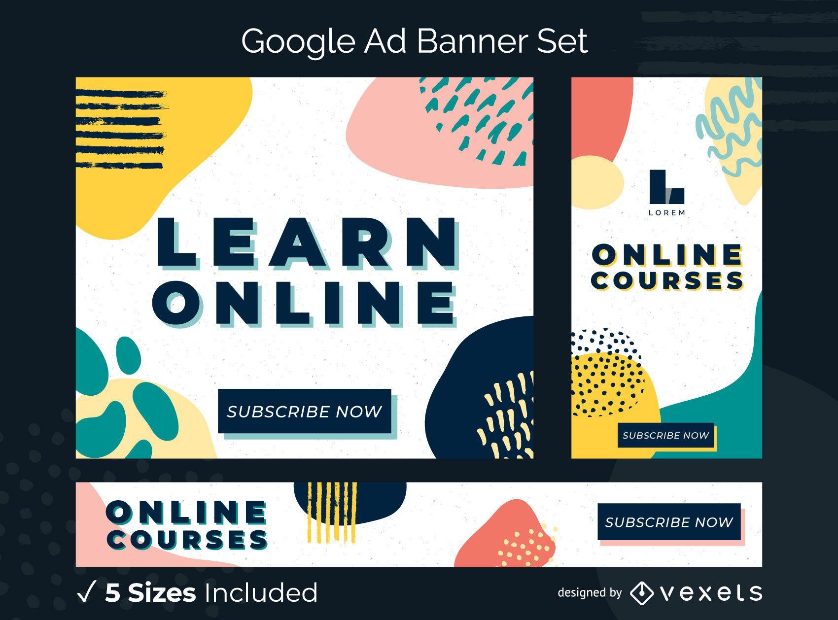 Aprenda o conjunto de banners de anúncios online
