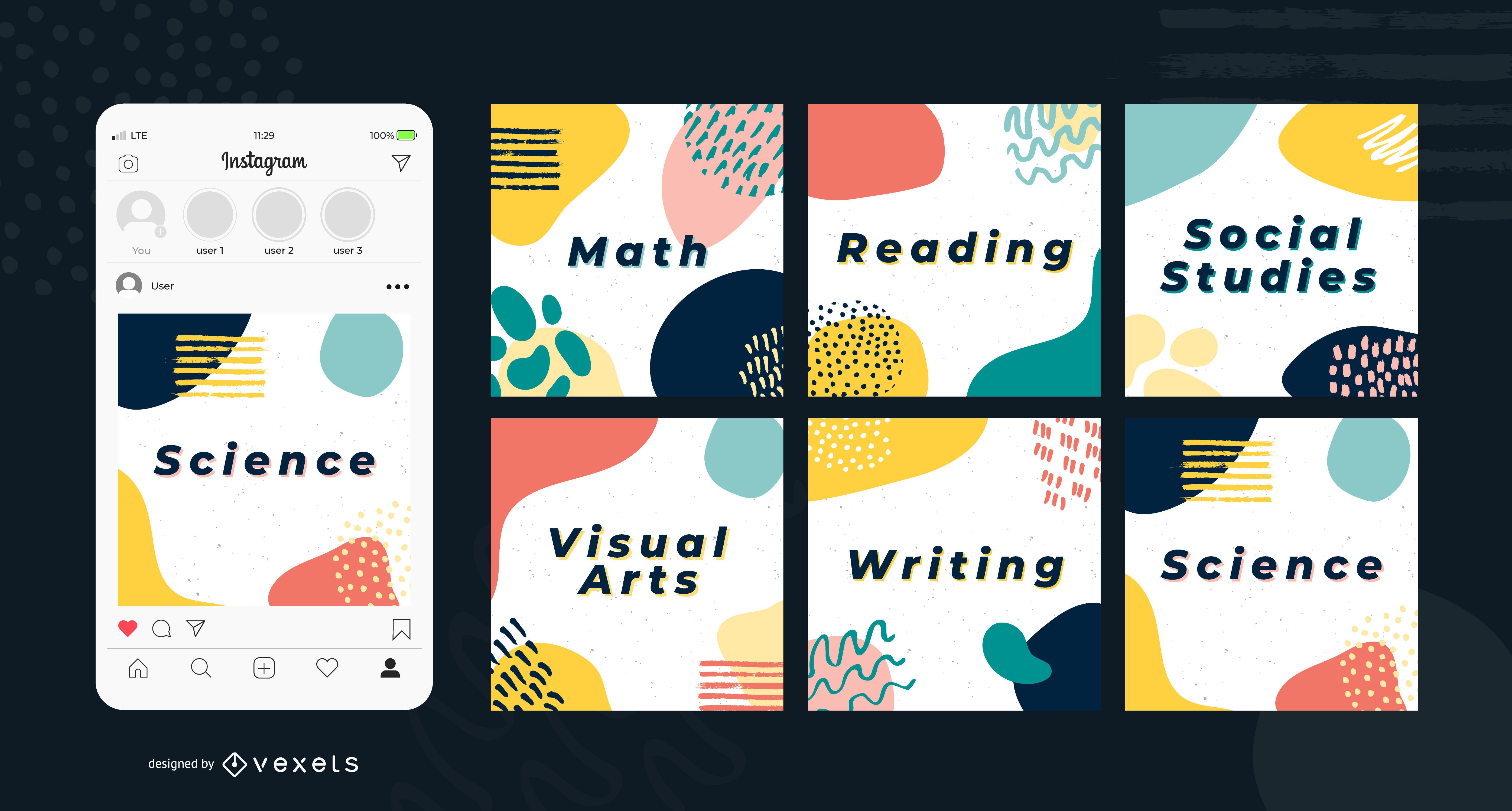 Education abstract social media posts