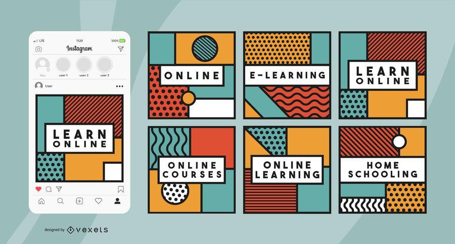 Publicações geométricas nas redes sociais sobre educação