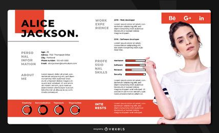 Resume Landscape Template Design