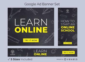Aprenda o conjunto de banner de anúncios de escola on-line