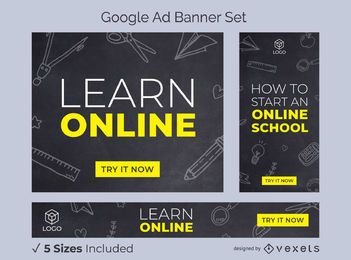 Learn online school ads banner set