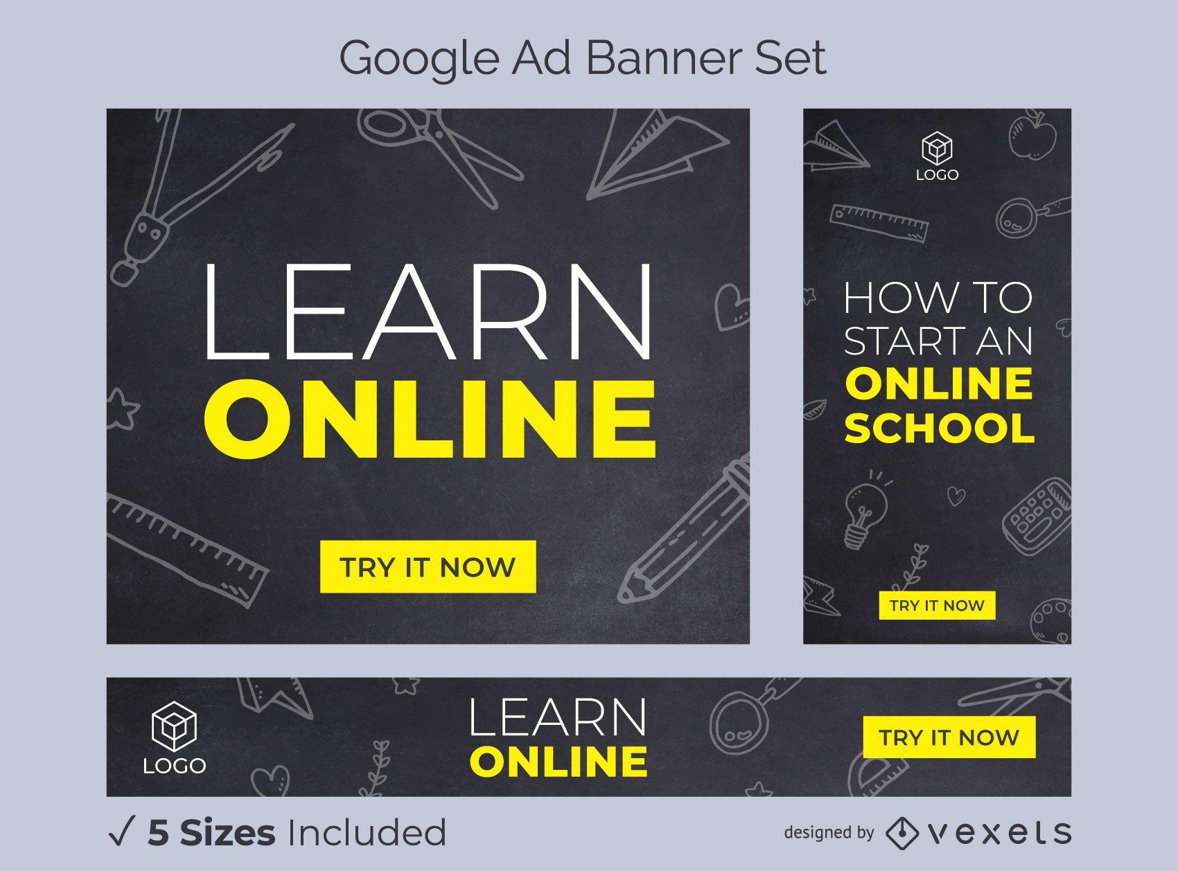 Aprenda online o conjunto de banners de anúncios escolares
