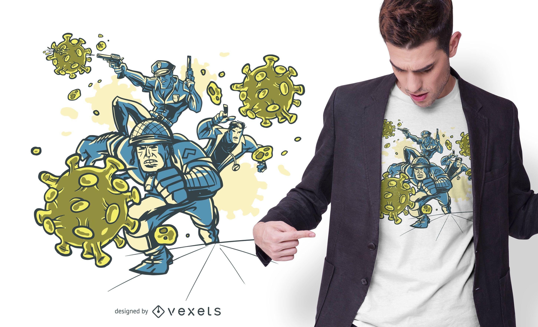 Diseño de camiseta de luchadores de coronavirus