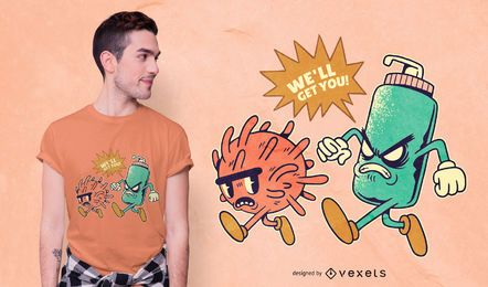 Diseño de camiseta de dibujos animados de Coronavirus Chase