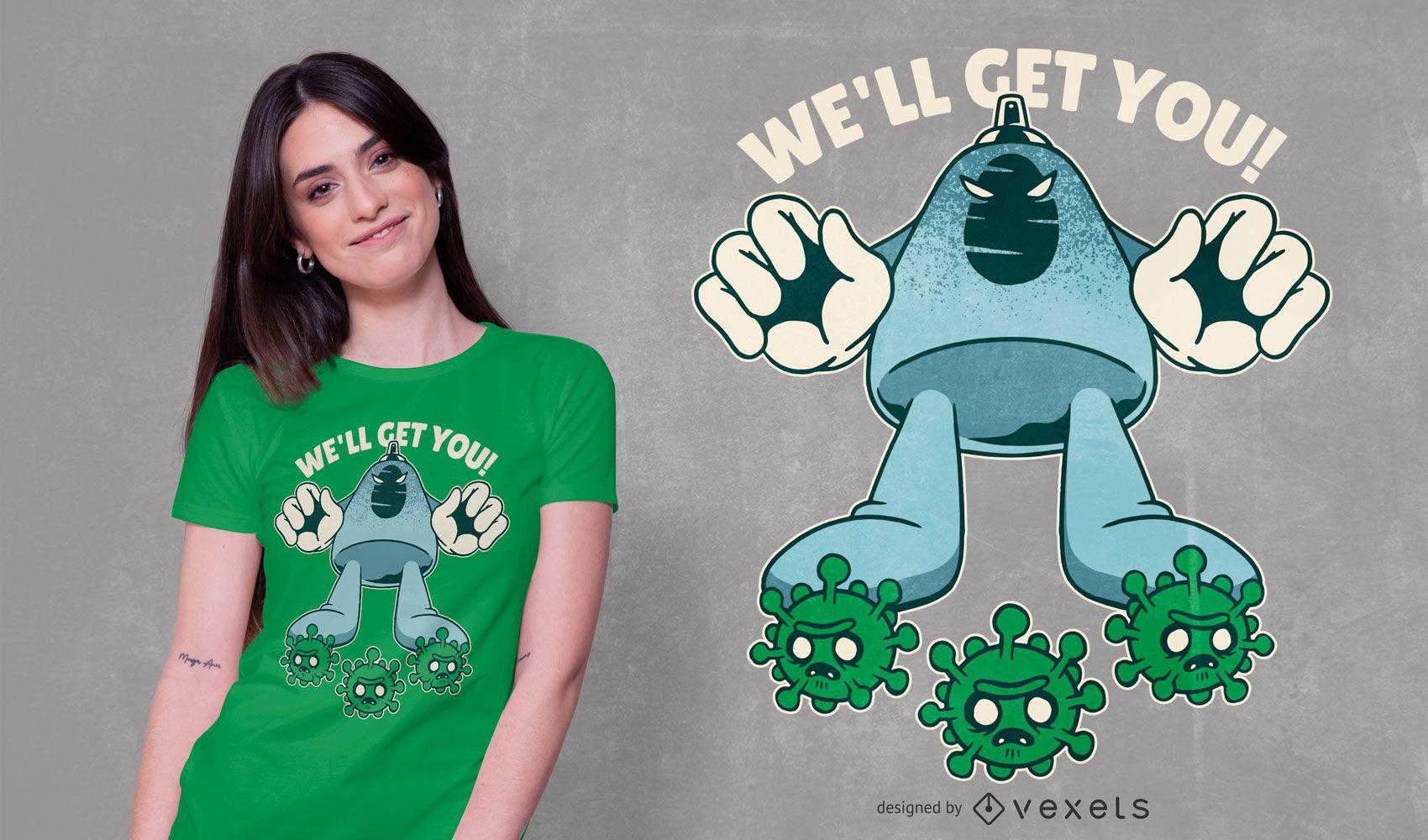 Diseño de camiseta con cita de desinfectante de manos