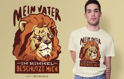Design de camiseta com citações alemãs do Lion