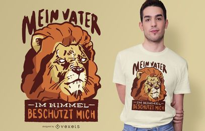Diseño de camiseta de cita alemana de león