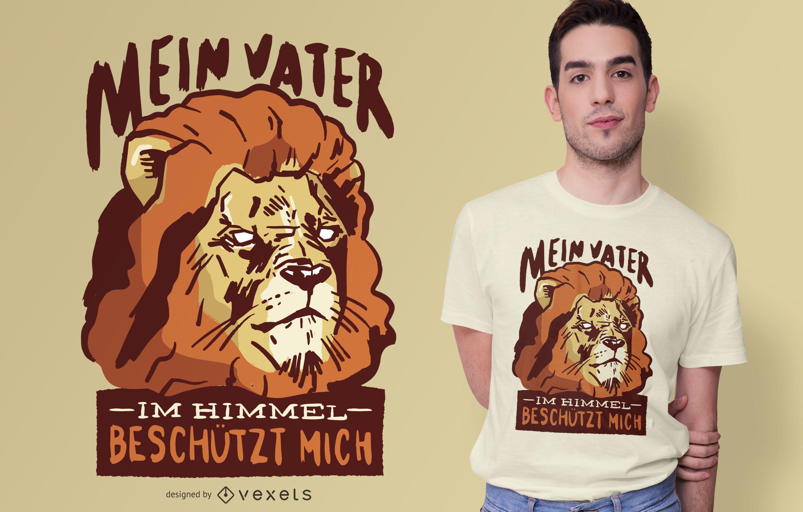 Diseño de camiseta Lion German Quote