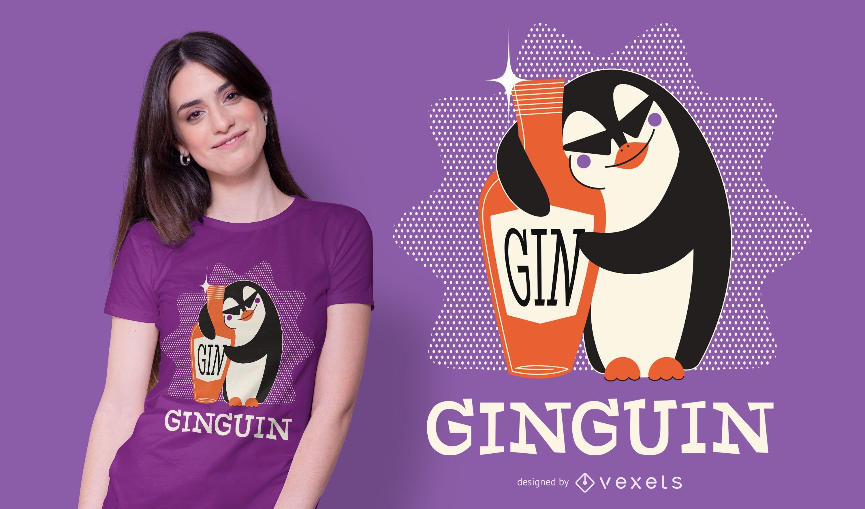 Diseño de camiseta Penguin Gin