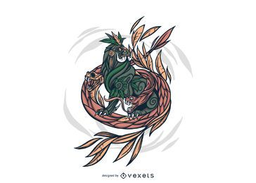 Mythological Hydra Creature Illustration