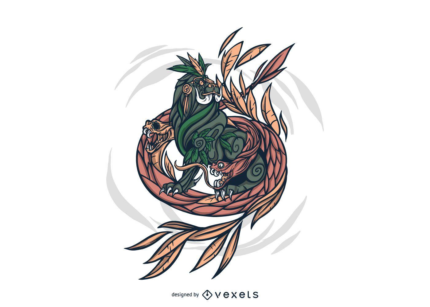Mythological Hydra Creature Illustration